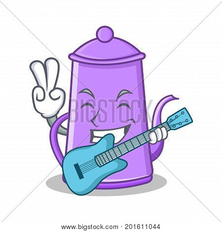With guitar purple teapot character cartoon vector illustration