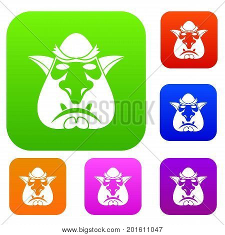 Head of troll set icon in different colors isolated vector illustration. Premium collection