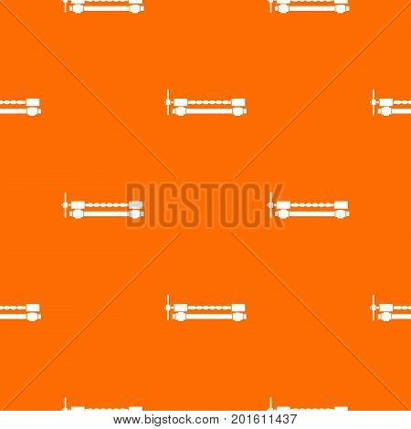Blacksmiths clamp pattern repeat seamless in orange color for any design. Vector geometric illustration
