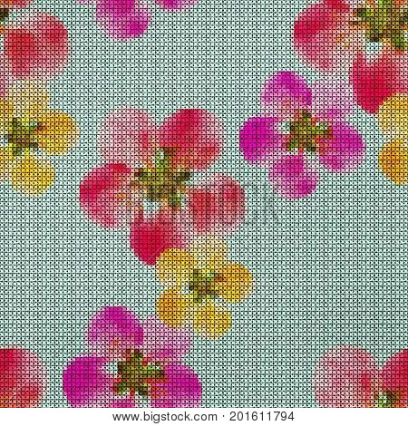 Illustration. Cross-stitch. Quince apple quince. Texture of flowers. Seamless pattern for continuous replicate. Floral background collage.