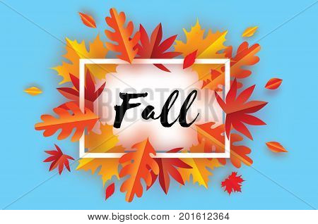Beautiful Autumn Fall Paper Cut Leaves. Hello Autumn. September flyer template. Rectangle frame. Space for text. Origami Foliage. Maple, oak. Fall poster. Blue background. Vector illustration