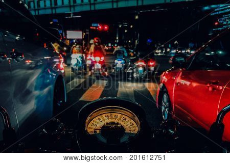 Traffic jam Behind the wheel of the motorcycle in the city