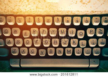Antique Typewriter. Vintage Typewriter Machine Closeup Photo