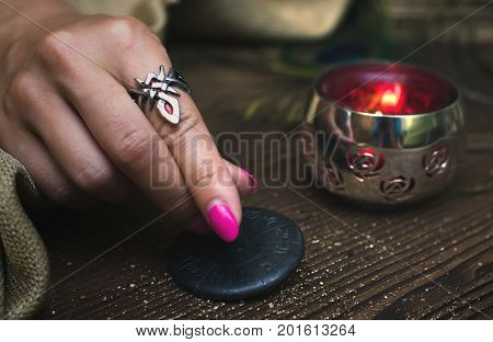 Fortune teller table with magic attributes. Horoscope amulet. Divination. Witchcraft.