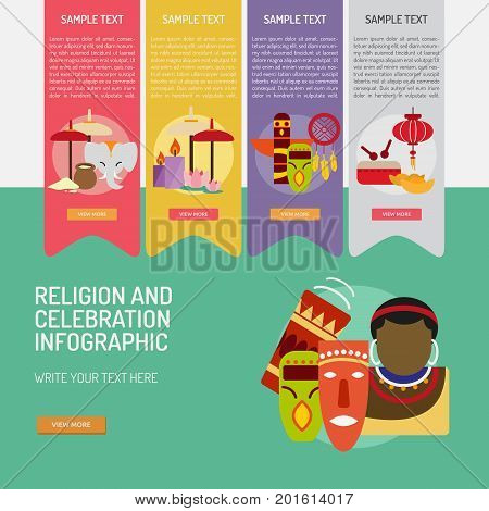Infographic Religion and Celebrations | Use for religion, celebration, event and much more. The set can be used for several purposes like: websites, print templates, presentation templates, promotional materials, info