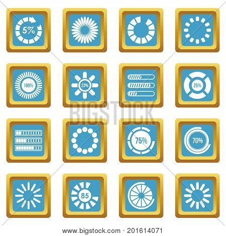 Loading bars and preloaders icons set in azur color isolated vector illustration for web and any design