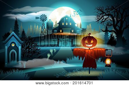 Scary old graveyard and farm house on blue moonlight - Halloween background. Scarecrow with pumpkin head.