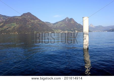 Wooden Pier For Fixing Of Boats In A Lake