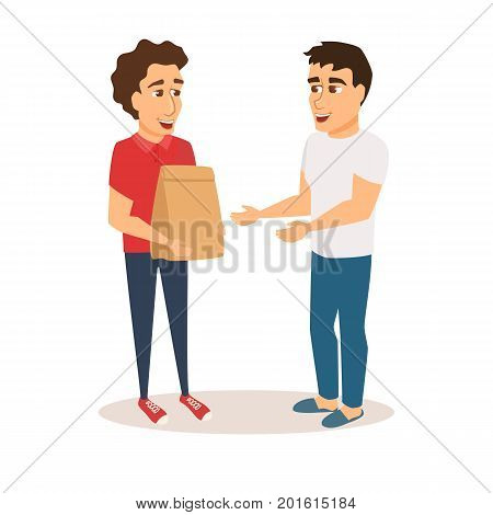 Food delivery service. Man courier holds grocery paper bag and gives order to buyer. Purchaser receives the order from restaurant. Character. Boy in uniform