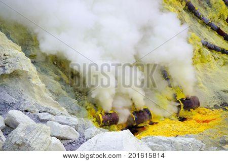 Sulfur mining at Kawah Ijen, East java, Indonesia.
