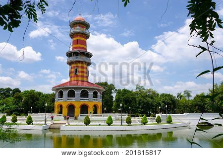 The colourful watch tower in Ayuthaya, Thailand.