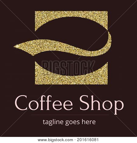 Logo with a Golden glitter, sheen. Symbol for coffee shop or coffee business. A stylized coffee bean in the form of a silhouette of the character. Logo template for brending and identity.