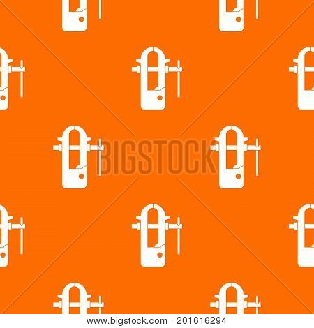 Blacksmiths vice pattern repeat seamless in orange color for any design. Vector geometric illustration