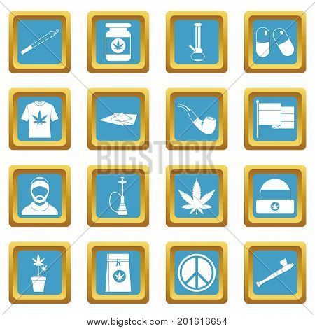 Rastafarian icons set in azur color isolated vector illustration for web and any design