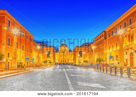 St. Peter's Square And St. Peter's Basilica, Vatican City In The Evening Time From Street Conciliazi
