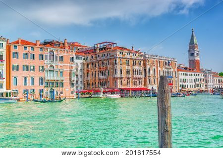 Views Of The Most Beautiful Canal Of Venice - Grand Canal Water Streets, And Campanile Of St. Mark's