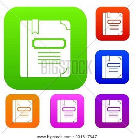 Tutorial with bookmark set icon in different colors isolated vector illustration. Premium collection