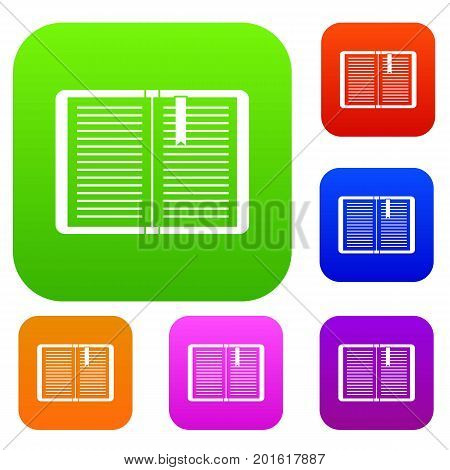 Open tutorial with bookmark set icon in different colors isolated vector illustration. Premium collection