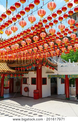 Chinese Temple With Traditional Papaer Lighters