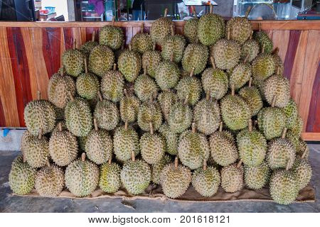 Group of Durian. tropical fruit.durian on the truck for sell.