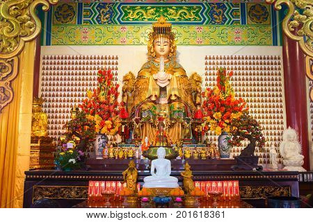 Mazu Goddess Statue And Altar In The Chinese Temple