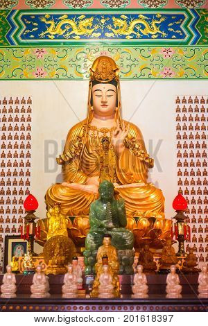 Guanyin Goddess Statue And Altar In The Chinese Temple