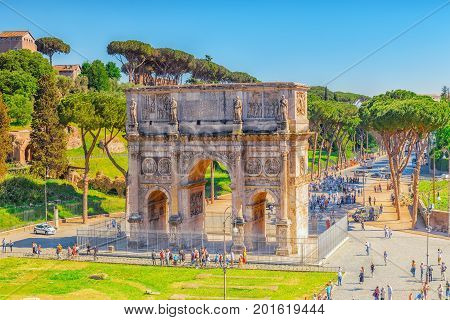 Rome, Italy - May 08, 2017 : Arch Of Constantine (italian: Arco Di Costantino) Is A Triumphal Arch I