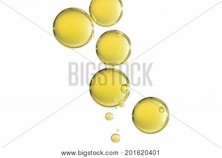 Some big yellow air bubbles isoltated over a white background