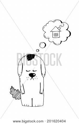 Abandoned puppy, adopt, animal cruelty, hand drawn illustration. Sad homeless puppy looking for a home, linear vector sketch