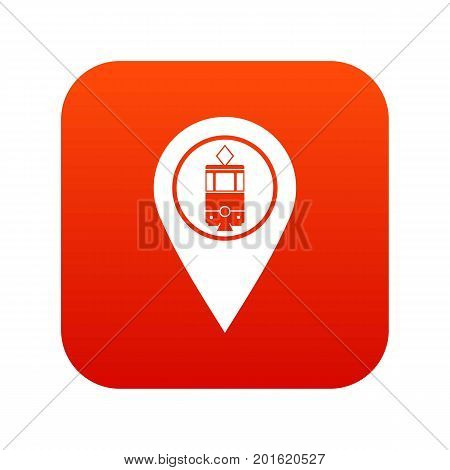 Geo tag with tram sign icon digital red for any design isolated on white vector illustration