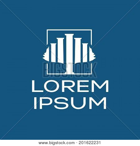 law columns forms a tree within an outline of square, tree of law logo, symbol design, isolated on white background.