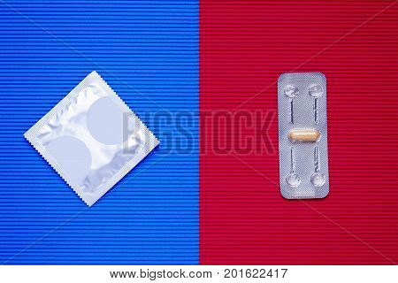 Concept contraception - condom and pill is contraceptive.