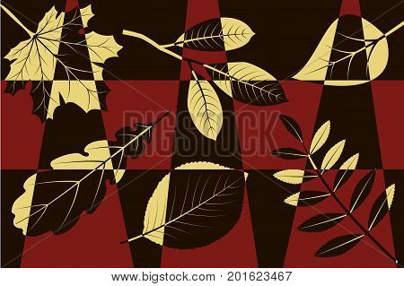 Abstract mosaic background, yellow autumn leaves on red and black, vector illustration