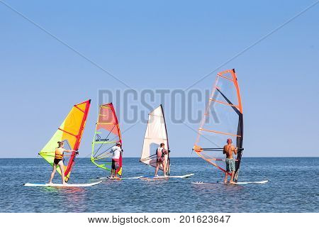 Russia - Yeisk AUG 2017: windsurfing training in the sea of Azov