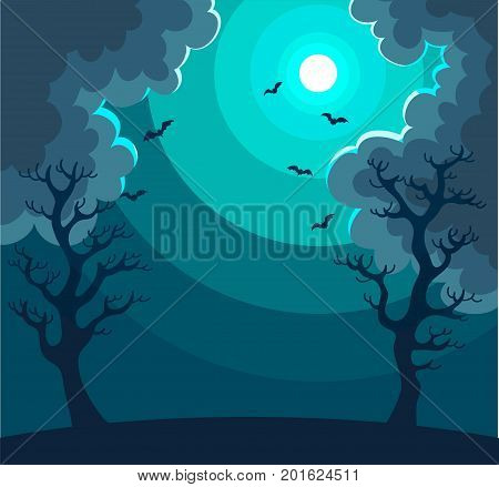 Mysterious halloween night landscape with bright moon in dark sky with heavy clouds, scary bats that fly in light and tall old dry trees with long branches silhouettes cartoon vector illustration.