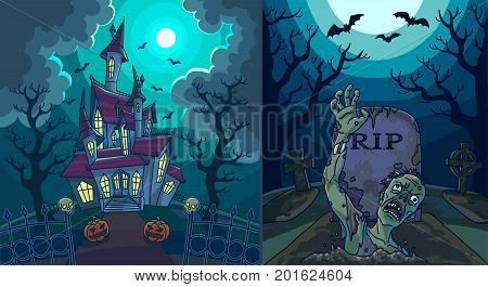 Scary landscapes with old house with spooky pumpkins around and zombie that climbs out of tomb with gravestone, spooky bats that fly to moon and dry trees dark silhouettes vector illustration.