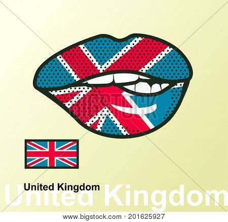 Vector illustration of lip painted United Kingdom flag isolated, foreign language national symbols