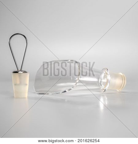 Wine pourer and wine stopper on gray background