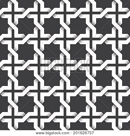Abstract repeatable pattern background of white twisted strips bands with black strokes. Swatch of intertwined zigzag bands in crosses form. Seamless pattern in vintage style.