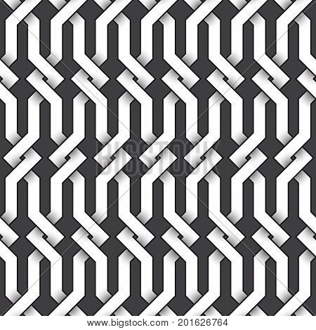 Abstract repeatable pattern background of white twisted bands with black strokes. Swatch of intertwined zigzag bands. Seamless pattern in vintage style.