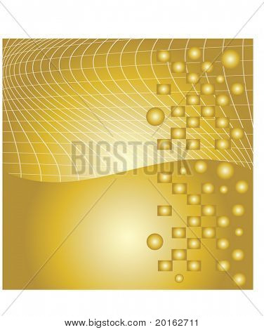 golden abstract background with grid and circles