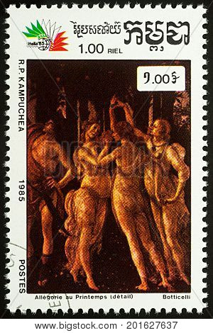 Moscow Russia - August 25 2017: A stamp printed in Cambodia shows painting Primavera (Spring detail) by Botticelli series