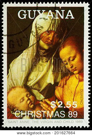 Moscow Russia - August 27 2017: A stamp printed in Guyana shows painting