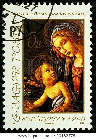 Moscow Russia - August 25 2017: A stamp printed in Hungary shows painting Madonna with Child by Botticelli series