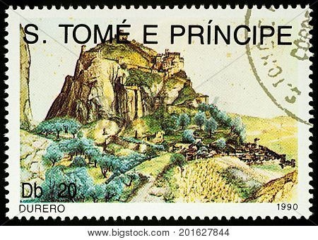 Moscow Russia - August 26 2017: A stamp printed in Sao Tome and Principe shows painting