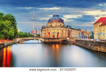Museum island on Spree river and Alexanderplatz TV tower in center of Berlin Germany