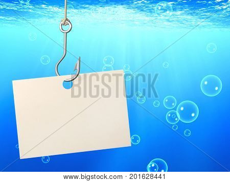 The underwater scene with empty sheet of a paper, hanging on a fishing hook and blue water with bubbles. 3d render