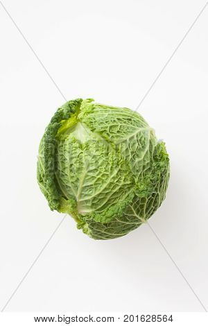 Forks Savoy Cabbage On White. Place For Text.
