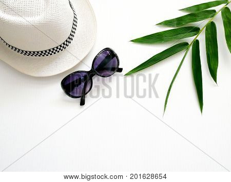 Flat lay vacation stuff on white background. Travel or vacation concept. Summer background.