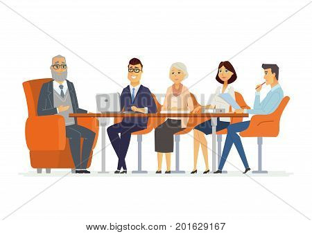 Business Consultation - vector illustration of office situation. Cartoon people characters of senior, young men, women at the conference discussion. Scene of company director, manager consulting team